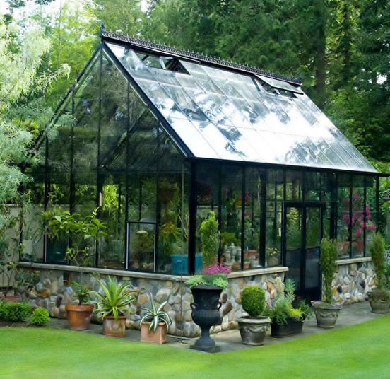 Green Home Design Ideas: Black Cape Cod Greenhouse With Rock Foundation